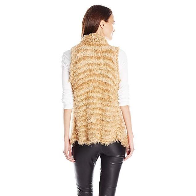 kensie Women's Furry Stripe Vest, Latte, X-Small