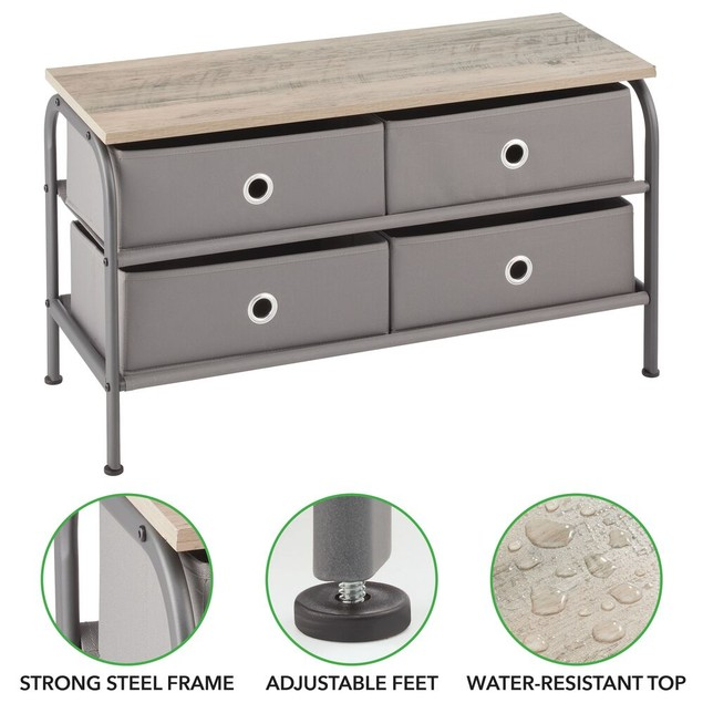 mDesign Storage Bench with 4 Drawers & Wood Top - Dark Gray
