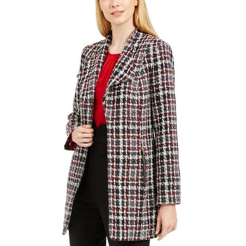 Calvin Klein Women's Petite Tweed Plaid Topper Jacket Red Size 8