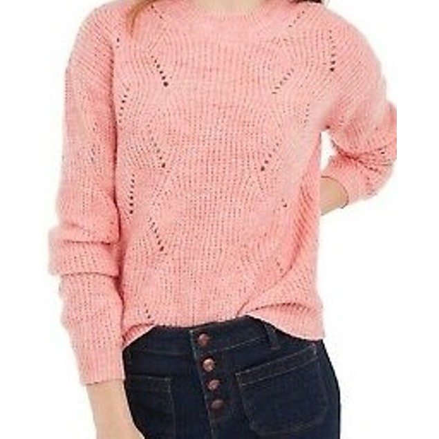 Hippie Rose Women's Juniors' Marled Mock-Neck Sweater Pink Size X-Small