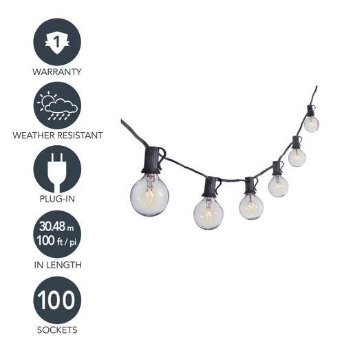 Sterno Home 100-Ft Clear Globe Outdoor Incandescent String Lights G40 Bulbs on Black Cord – For Backyard, Weddings, Patio, Porch, and more