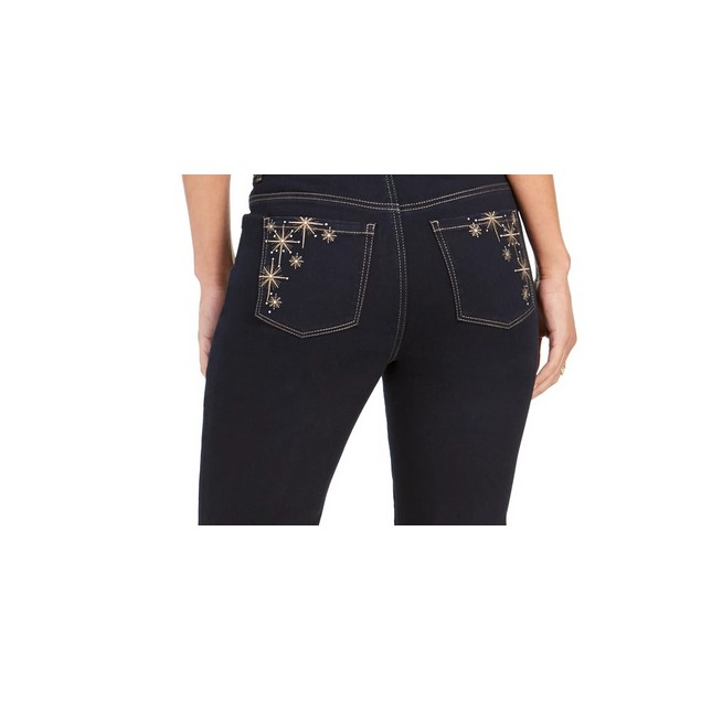 Style & Co Women's Straight-Leg Bling Pocket Jeans Black Size 4