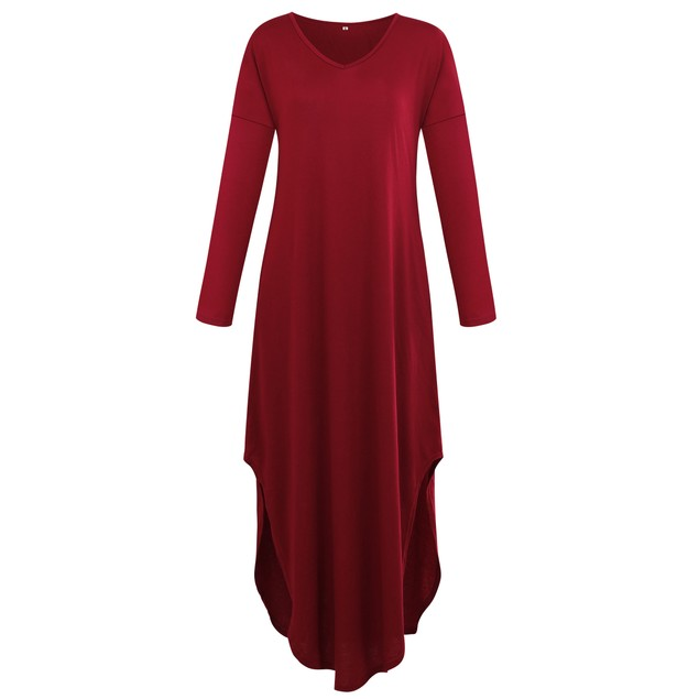 Loose Long Sleeve Solid Maxi Dress with Side Slits