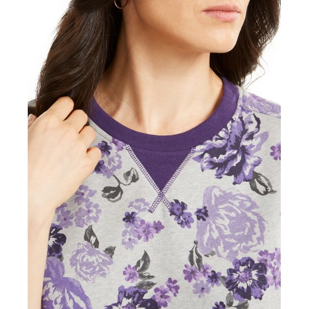 Karen Scott Women's Floral-Print Fleece Sweatshirt Cassis Size Large