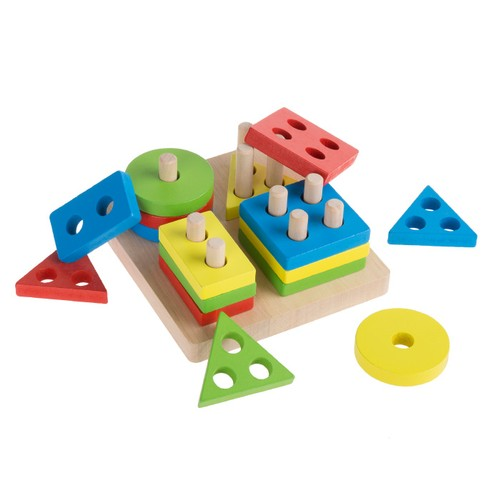 Wooden Shape Sorter-Classic Toddler Sorting and Counting Puzzle