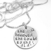Engraved ''She Believed She Could So She Did'' Inspirational Necklace