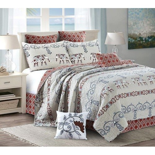 2PC Adah Printed Quilt King/Queen Size Polyester Bed Sheet Set With 2 Shams