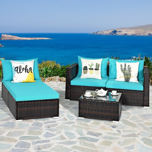 Costway 5PCS Patio Furniture Set Sectional Conversation Sofa Set w/ Coffee