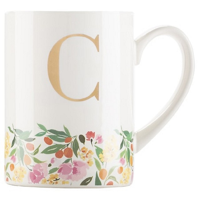 "C.R. Gibson Dishwasher Safe Irresistible Delightfully Monogram Mug ""C"""