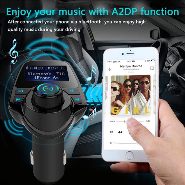 AGPtEK Wireless In-Car Bluetooth 3.0+EDR FM Transmitter Radio