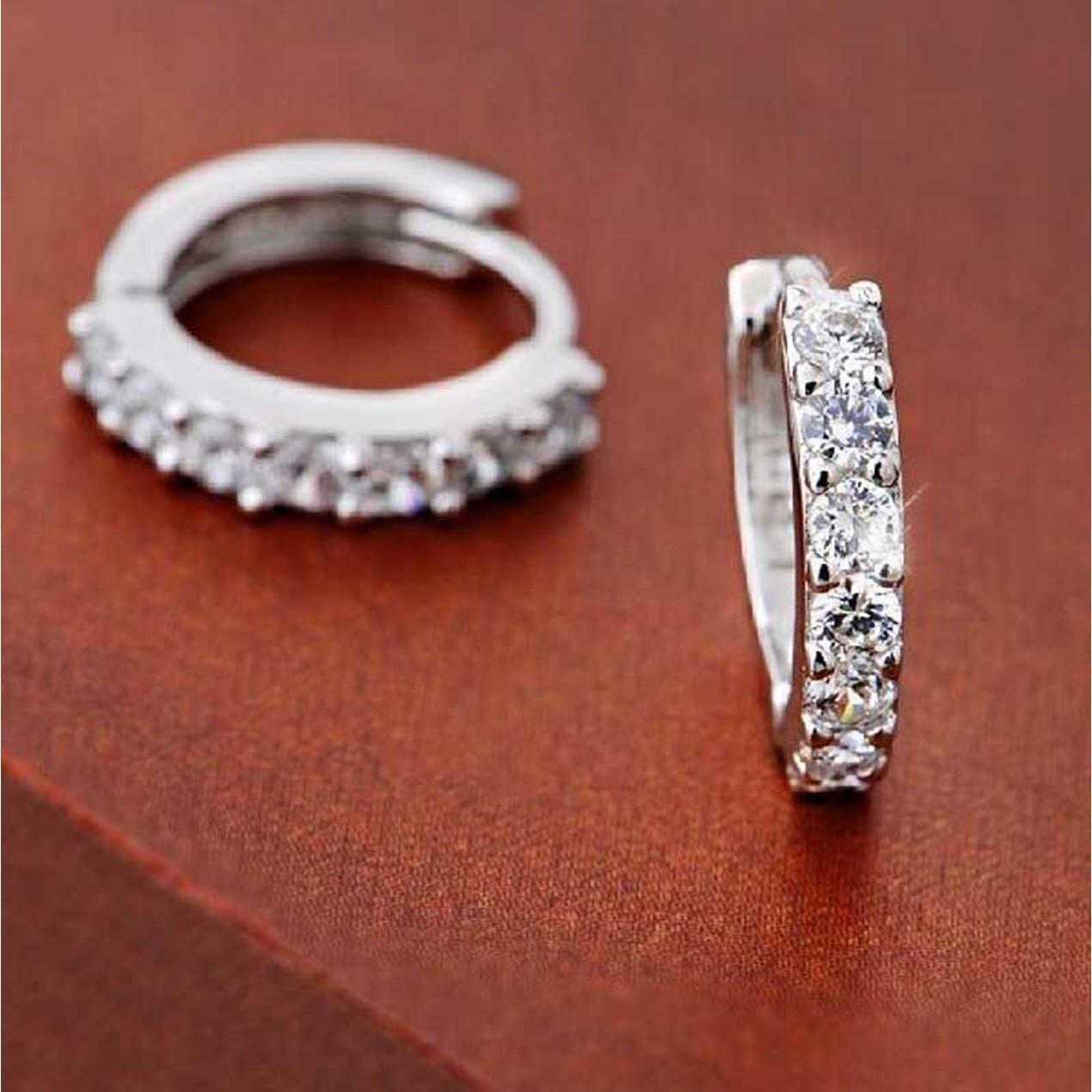 39feca34e Sterling Silver Rhinestones Hoop Diamond Stud Earrings for Women - Tanga
