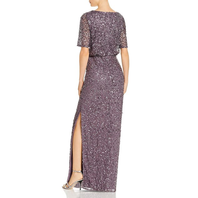 Adrianna Papell Women's Beaded Floor-Length Gown Dress, 10, Moonscape