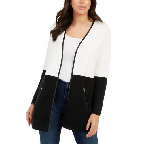 Charter Club Women's Milano Cotton Colorblocked Cardigan White Size Small