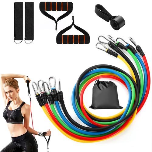 11Pcs Resistance Bands Set Fitness Workout Tubes Exercise Tube Bands