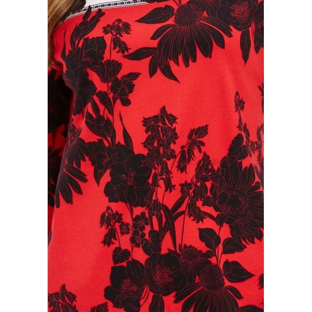 Charter Club Women's Pima Cotton Printed Colorblocked Top Red Size Large
