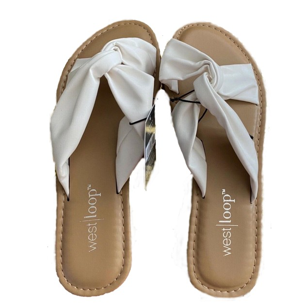 West Loop Women's Faux Leather Flat Sandals w/ Cushioned Insoles, S 5/6,