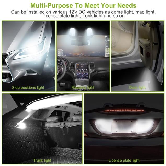 10Pcs 12V T10 LED Light Bulb Wedge Base Interior Dome Map LED Lights
