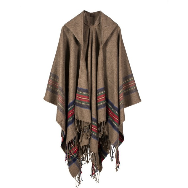 Ladies Color Striped Jacquard Shawl Can Be Worn