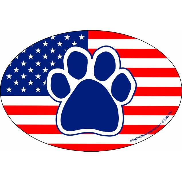 American Flag Paw Print Magnet