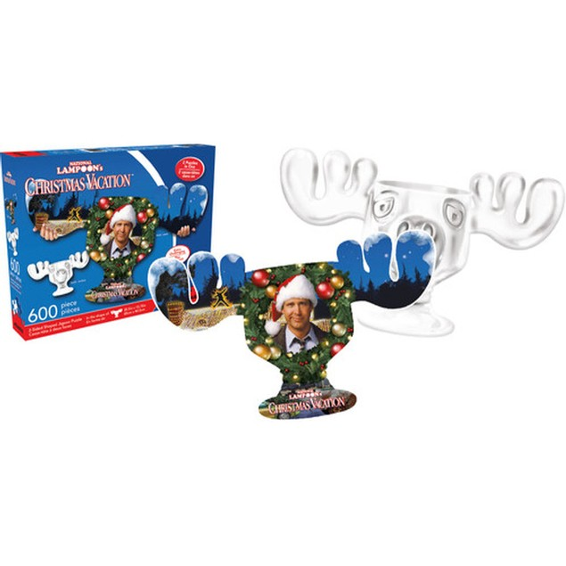 Christmas Vacation Moose Mug and Collage 600 Pieces Shaped Puzzle