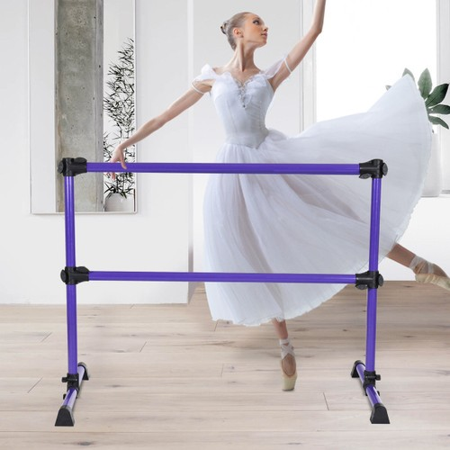 Costway 4' Portable Double Freestanding Ballet Barre Stretch Dance Bar Heig