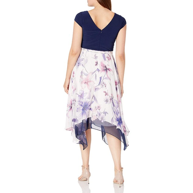 S.L. Fashions Women's Sleeve Short Roll Collar Midi Dress, 12, Navy/Multi