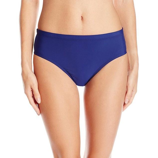 Athena Women's Landa Solid Mid-Waist Bikini Bottom, Navy, Medium