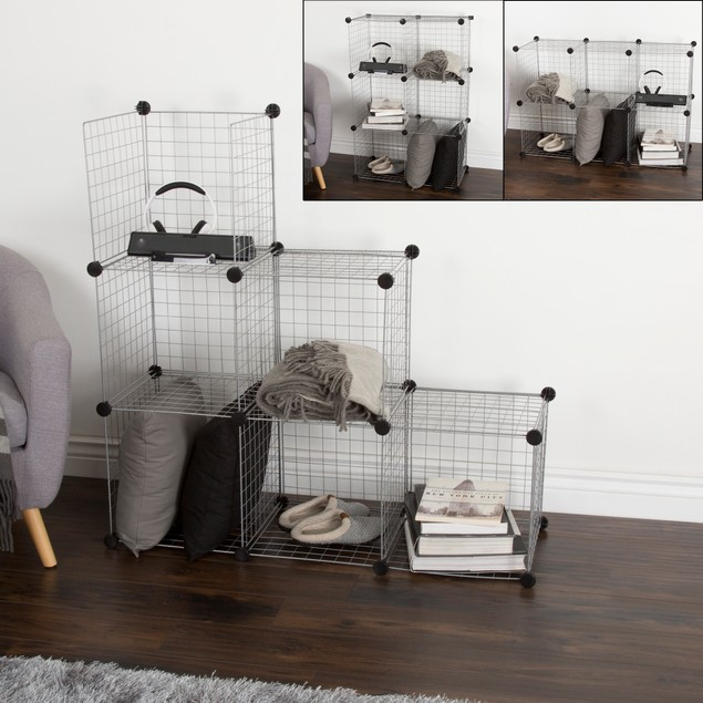 Everyday Home Modular Mesh Storage Cube - 6 Pack - Silver
