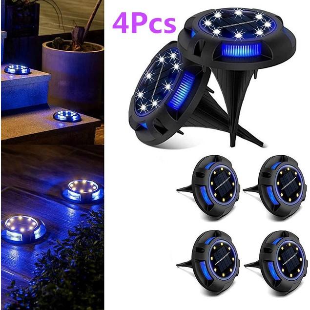4Pcs Solar Underground Light Outdoor Waterproof LED Ground Light Round Garden Decoration Lawn Light