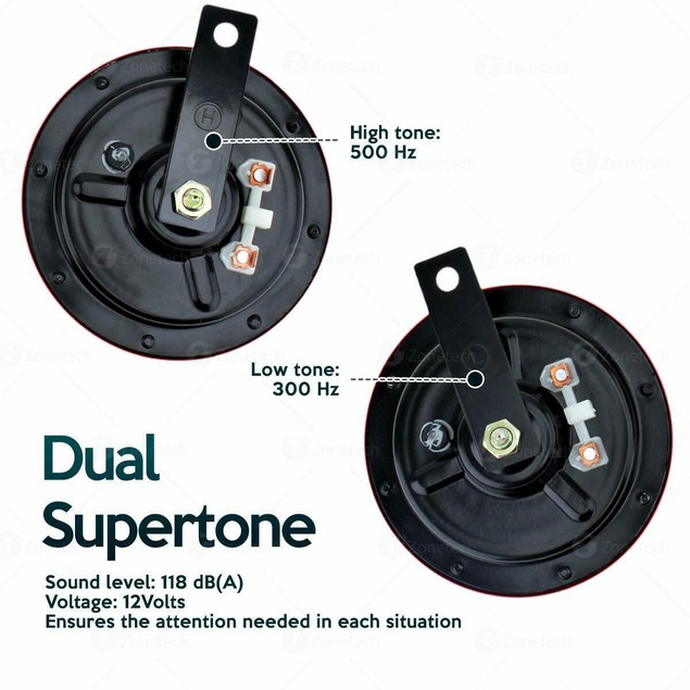 Zone Tech 2 Dual Supertone Hi Lo 12V Electric Grille Mount Hella Horn