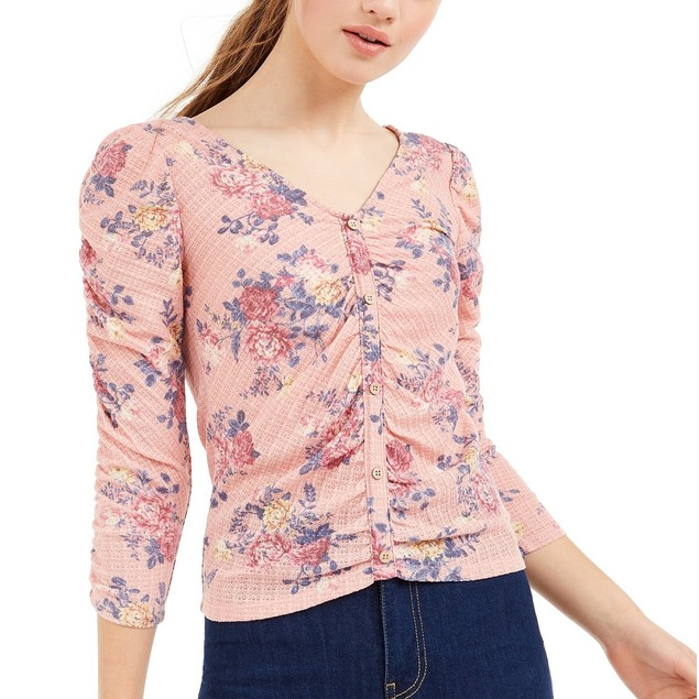 Crave Fame Juniors' Ruched Floral Top Pink Size Extra Small
