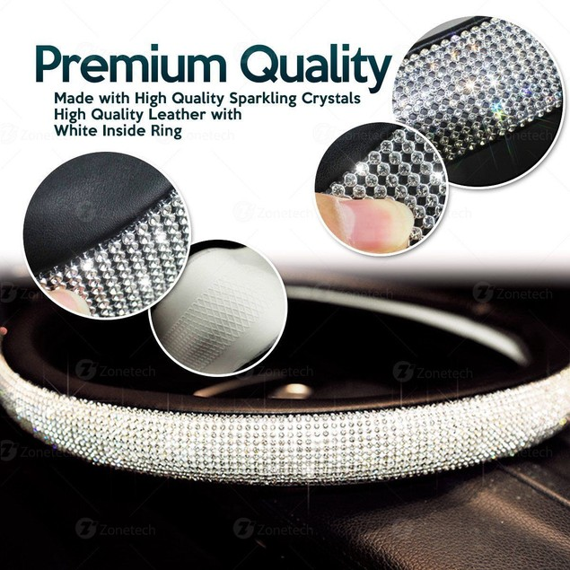 Zone Tech Shiny Bling PU Leather Rhinestone Steering Wheel Cover Crystal