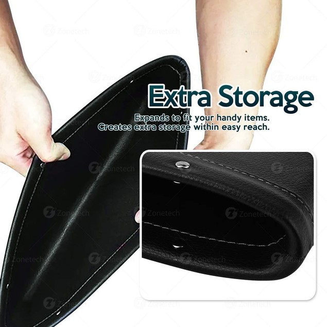 2x PU Leather Catch Caddy Car Seat Console Gap Filler Side Pocket Organizer