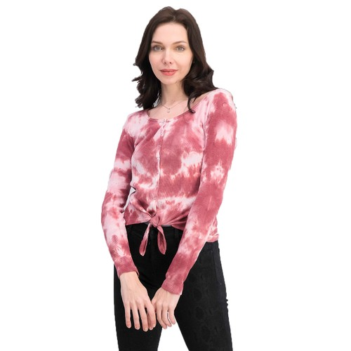 Ultra Flirt Juniors Tie-Dye Thermal Top Pink Size Extra Large