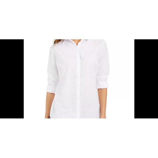 Charter Club Women's Faux-Pearl Shirt White Size Small