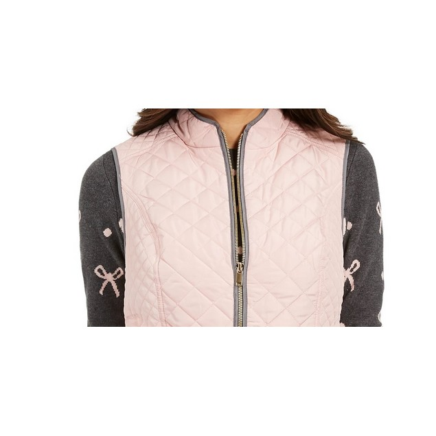 Charter Club Women's Quilted Stand Collar Vest Pink Size XX-Large