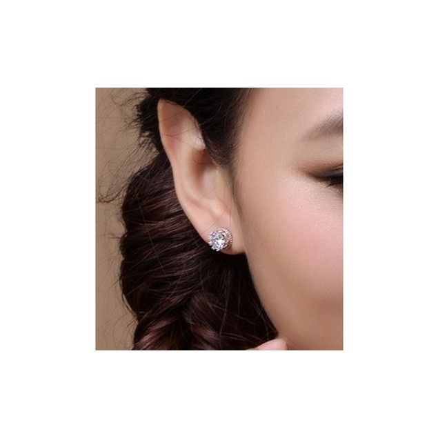 White Gold Crown Stud Earrings