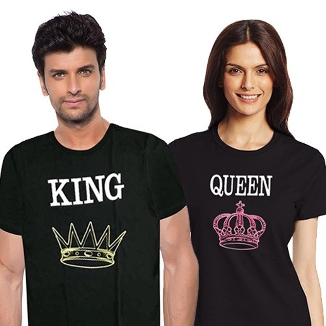 Unisex valentines day King and Queen T shirts.