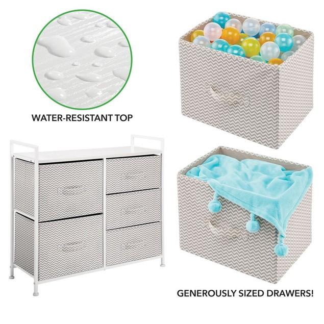 mDesign Wide Dresser Storage Tower Organizer Unit, 5 Drawers