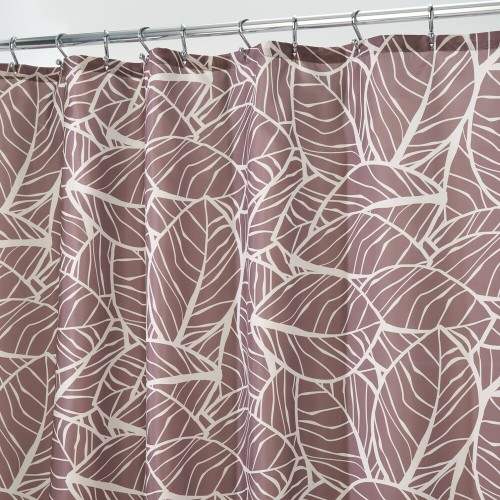"""mDesign Tropical Leaves Print Fabric Shower Curtain - 72"""" x 72"""""""