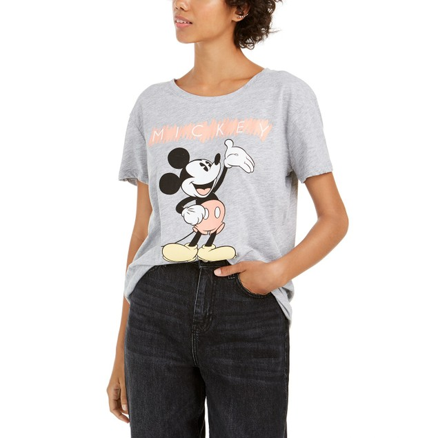 Disney Juniors' Mickey Mouse Graphic T-Shirt Gray Size Small