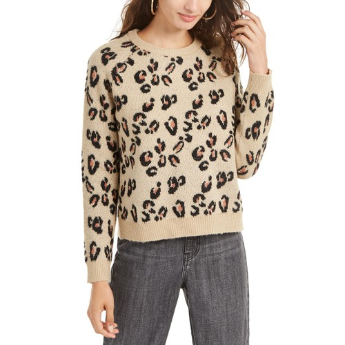 Planet Gold Juniors Women's Animal-Print Sweater Brown Size Small