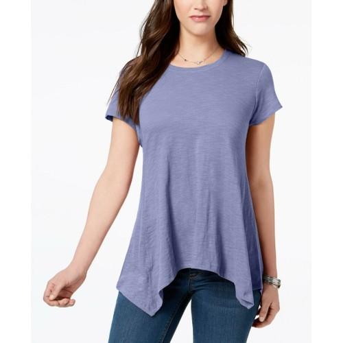 Style & Co Women's Handkerchief-Hem T-Shirt Purple Size Large