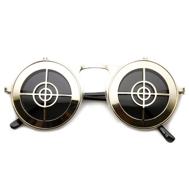 Flip Up Bullseye Gold Sunglasses Steampunk Bulls Eye Sun Glasses Crosshair