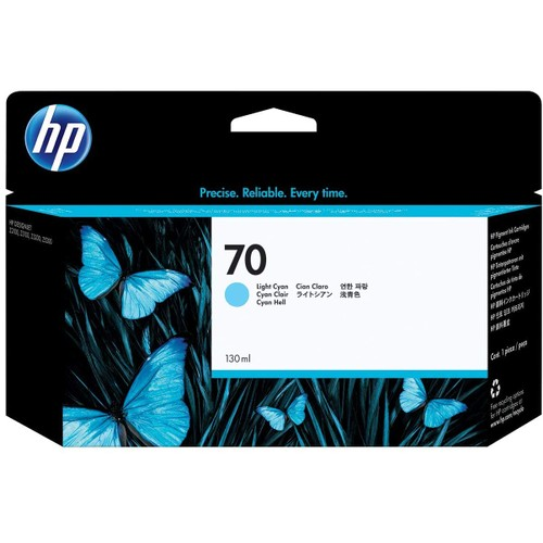 HP 70 Light Cyan 130-ml Genuine Ink Cartridge (C9390A) for DesignJet Z5200, Z3200, Z3100 & Z2100 Large Format Printers