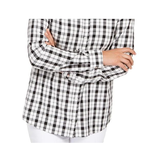 Charter Club Women's Cotton Plaid Shirt White Size Small