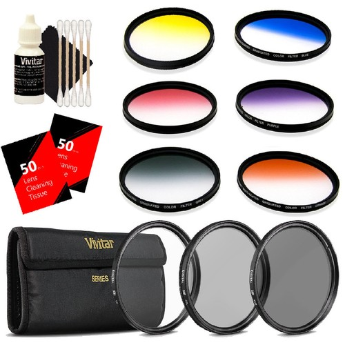 Vivitar 52mm Rotating Graduated 6 Piece Color Filter Kit + 3Pc Filter Kit 52MM UV/CPL/ND8 + 100 Lens Tissue Sheet + 3pc Cleaning Kit
