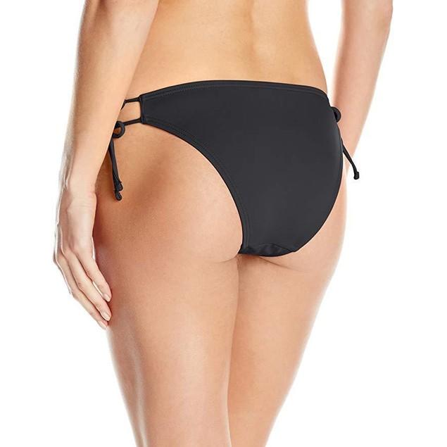 Echo Design Women's Solid String Bikini Bottom, Black, sz: L