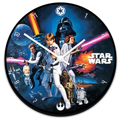 Star Wars Wall Clock Battery Operated Wood Characters Original Movie 13.5""
