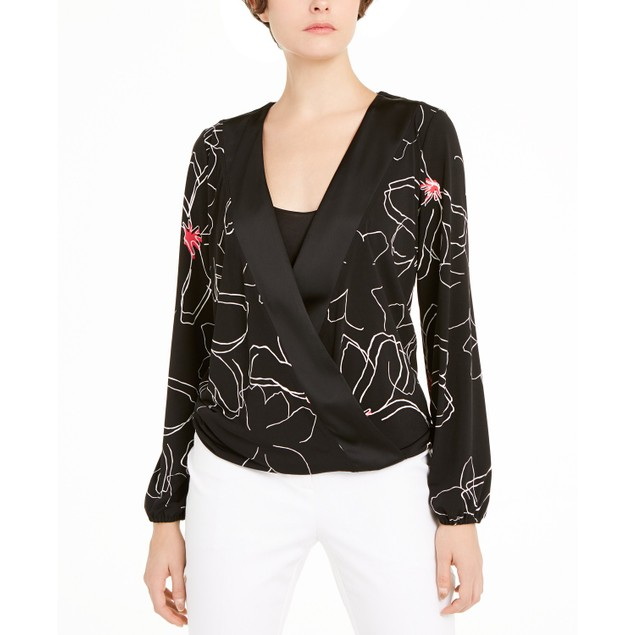 Alfani Women's Printed Surplice-Neck Blouse Black Size Extra Large